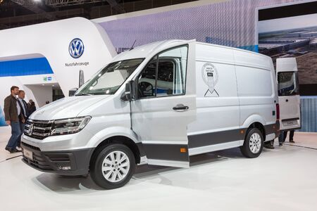 iaa: Hannover, Germany - Sep 23, 2016: Volkswagen presents the new Crafter van at the IAA 2016 in Hannover, Germany