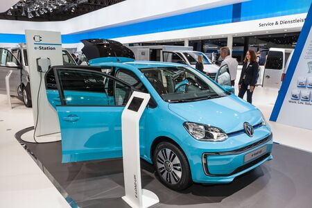 Hannover, Germany - Sep 23, 2016: Volkswagen presents the new e-load up! electric delivery van at the IAA 2016 in Hannover, Germany