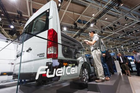 fuel cell: Hannover, Germany - Sep 23, 2016: Hyundai presents the new H350 Fuel Cell concept car at the IAA 2016 in Hannover, Germany