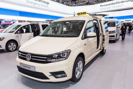 maxi: Hannover, Germany - Sep 23, 2016: Volkswagen presents the new Caddy Maxi Taxi edition at the IAA 2016 in Hannover, Germany