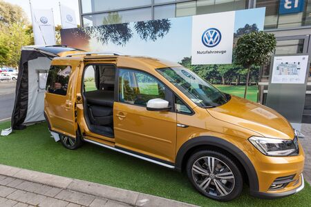 Hannover, Germany - Sep 23, 2016: Volkswagen presents the new Caddy Beach camping van at the IAA 2016 in Hannover, Germany