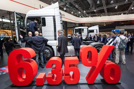 Hannover, Germany - Sep 23, 2016: MAN presents a new efficient truck model at the IAA 2016 in Hannover, Germany Editorial