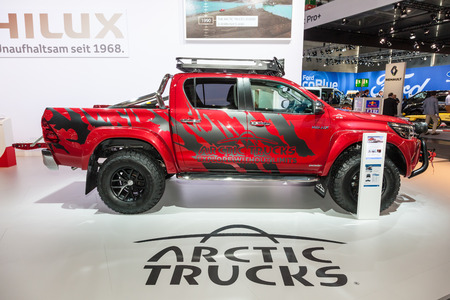 Hannover, Germany - Sep 23, 2016: Toyota Hilux Arctic Trucks 4x4 pickup truck at the IAA 2016 Commercial Vehicles Trade in Hannover, Germany