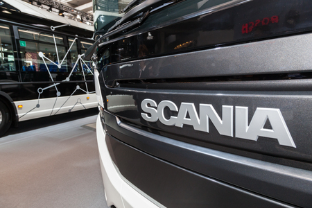 Hannover, Germany - Sep 23, 2016: New Scania trucks at the IAA 2016 Commercial Vehicles Trade in Hannover, Germany