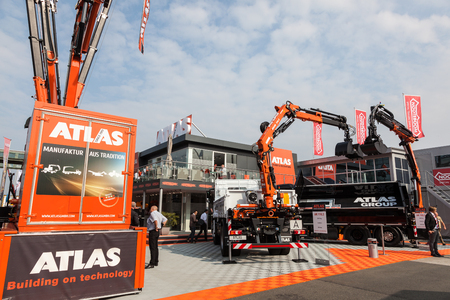Hannover, Germany - Sep 23, 2016: Atlas Cranes and Construction Vehicles at the Commercial Vehicles Fair IAA 2016  in Hannover, Germany Editorial
