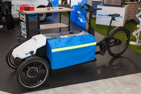 three wheeler: Hannover, Germany - Sep 23, 2016: Electric three wheeler bike Sortimo ProCargo CT1. Commercial Vehicles Trade IAA 2016 in Hannover, Germany