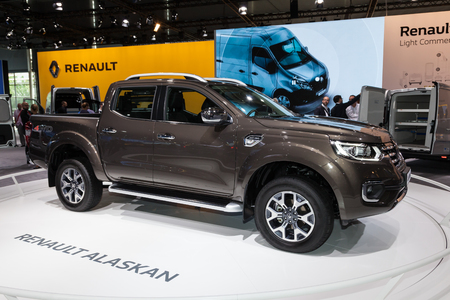 Hannover, Germany - Sep 23, 2016: New Renault Alaskan 4x4 pickup truck at the IAA 2016 Commercial Vehicles Trade in Hannover, Germany Editorial