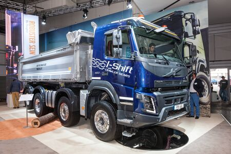 dumper: Hannover, Germany - Sep 23, 2016:VOLVO FMX 460 heavy duty construction dumper truck at the Commercial Vehicles Fair IAA 2016  in Hannover, Germany Editorial
