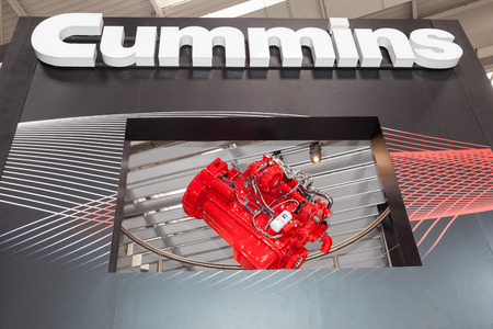cummins: Hannover, Germany - Sep 23, 2016: American Company Cummins at the Commercial Vehicles Trade Fair IAA 2016