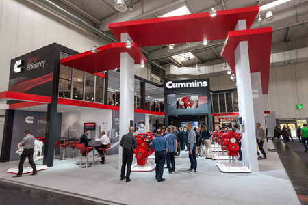 cummins: Hannover, Germany - Sep 23, 2016: American Company Cummins at the Commercial Vehicles Trade Fair IAA 2016 in Hannover, Germany