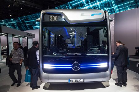 iaa: Hannover, Germany - Sep 23, 2016: Mercedes Benz Future Bus at the IAA Commercial Vehicles 2016 International Trade Fair