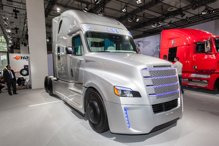 daimler: Hannover, Germany - Sep 23, 2016: Freightliner Inspiration - autonomous truck at the Commercial Vehicles Fair IAA 2016