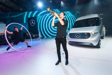 iaa: Hannover, Germany - Sep 23, 2016: Mercedes Benz Vision Van presentation show at the IAA Commercial Vehicles 2016 International Trade Fair