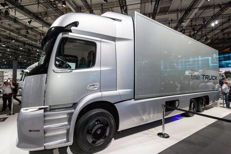 daimler: Hannover, Germany - Sep 23, 2016: Mercedes Benz urban electric truck concept eTRUCK at the Commercial Vehicles Fair IAA 2016  in Hannover, Germany