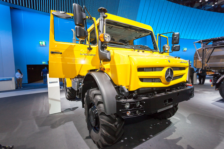 daimler: Hannover, Germany - Sep 23, 2016: Mercedes Benz Unimog 4x4  truck at the Commercial Vehicles Fair IAA 2016  in Hannover, Germany