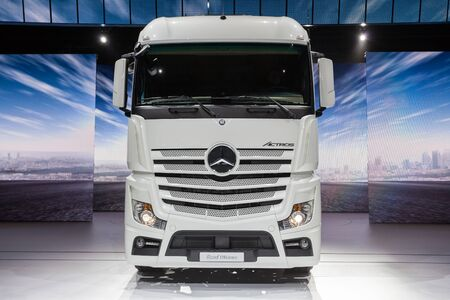 daimler: Hannover, Germany - Sep 23, 2016: Mercedes Benz Actros Road Efficiency truck at the Commercial Vehicles Fair IAA 2016  in Hannover, Germany Editorial