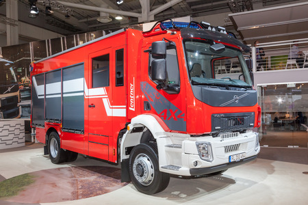 iaa: Hannover, Germany - Sep 23, 2016: Volvo FL 4x4 fire truck at the Commercial Vehicles Fair IAA 2016  in Hannover, Germany Editorial