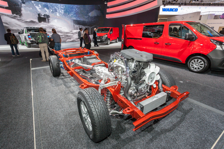 light transmission: Hannover, Germany - Sep 23, 2016: Nissan light pickup truck transmission at the Commercial Vehicles Fair IAA 2016  in Hannover, Germany