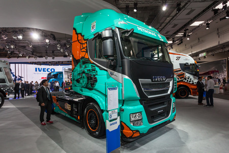 xp: Hannover, Germany - Sep 23, 2016: IVECO Stralis XP 570 heavy duty truck at the Commercial Vehicles Fair IAA 2016 in Hannover, Germany Editorial