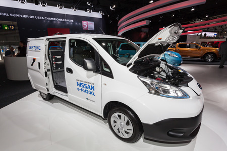 iaa: Hannover, Germany - Sep 23, 2016: Nissan e-NV200 electric van at the Commercial Vehicles Fair IAA 2016 in Hannover, Germany