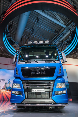 perfomance: Hannover, Germany - Sep 23, 2016: MAN Perfomance Line heavy duty truck at the Commercial Vehicles Fair IAA 2016 in Hannover, Germany