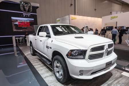 v8: Hannover, Germany - Sep 23, 2016: Dodge Ram 1500 with the Hemi 5.7 Liter V8 truck at the Commercial Vehicles Trade Fair IAA 2016