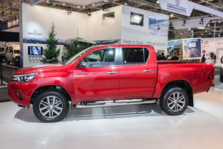 Hannover, Germany - Sep 23, 2016: New Toyota Hilux pickup truck at the IAA 2016 Commercial Vehicles Trade in Hannover, Germany