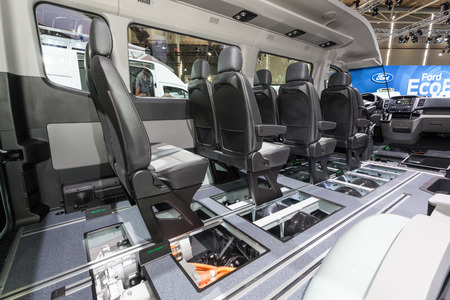 fuel cell: Hannover, Germany - Sep 23, 2016: Interior of the new Hyundai H350 Fuel Cell concept car at the IAA 2016 in Hannover, Germany Editorial