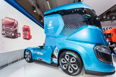Hannover, Germany - Sep 23, 2016: IVECO Z Truck - a  zero impact autonomous driving concept truck at the Commercial Vehicles Fair IAA 2016 Editorial