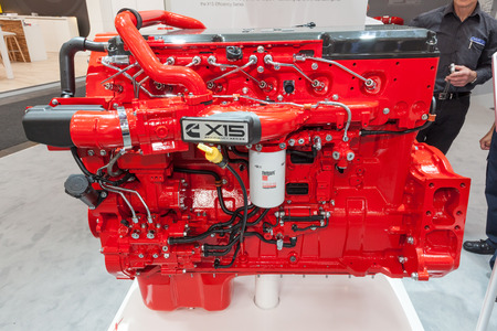 Hannover, Germany - Sep 23, 2016: Cummins X15 Efficiency Series heavy duty diesel engine at the Commercial Vehicles Trade Fair IAA 2016 Editorial