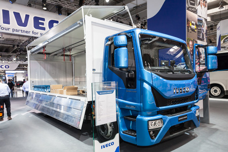 light duty: Hannover, Germany - Sep 23, 2016: New IVECO Eurocargo truck presentation at the IAA Commercial Vehicles 2016 International Trade Fair