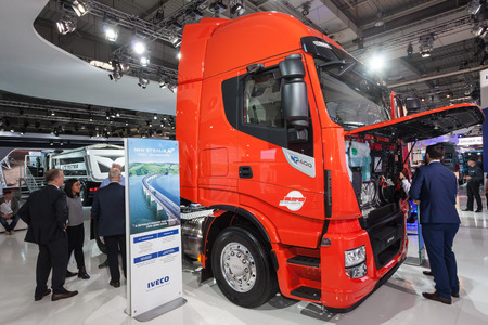 np: Hannover, Germany - Sep 23, 2016: IVECO Stralis NP 400 heavy duty truck at the Commercial Vehicles Fair IAA 2016 in Hannover, Germany