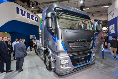 xp: Hannover, Germany - Sep 23, 2016: IVECO Stralis XP 480 heavy duty truck at the Commercial Vehicles Fair IAA 2016 in Hannover, Germany