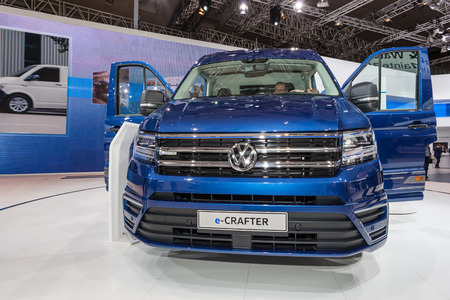 iaa: Hannover, Germany - Sep 23, 2016: Volkswagen e-CRAFTER electric delivery van at the Commercial Vehicles Fair IAA 2016