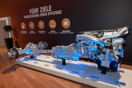 heavy duty: Hannover, Germany - Sep 23, 2016: Paccar DAF heavy duty truck transmission at the Commercial Vehicles Fair IAA 2016  in Hannover, Germany