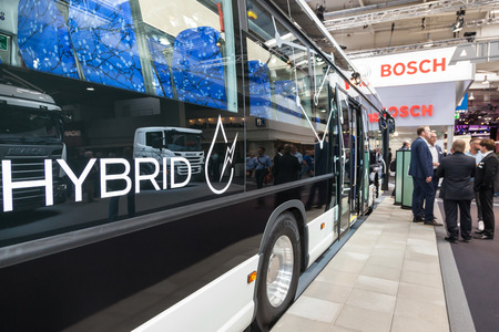 Hannover, Germany - Sep 23, 2016: New Scania hybrid bus series at the IAA 2016 Commercial Vehicles Trade in Hannover, Germany