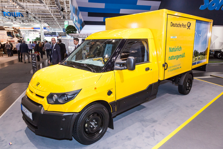 Hannover, Germany - Sep 23, 2016: New electric mail delivery van from the Deutsche Post DHL at the IAA Commercial Vehicles 2016 International Trade Fair