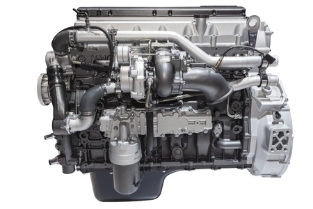 Modern six cylinder heavy duty turbo diesel engine isolated on white Stock Photo