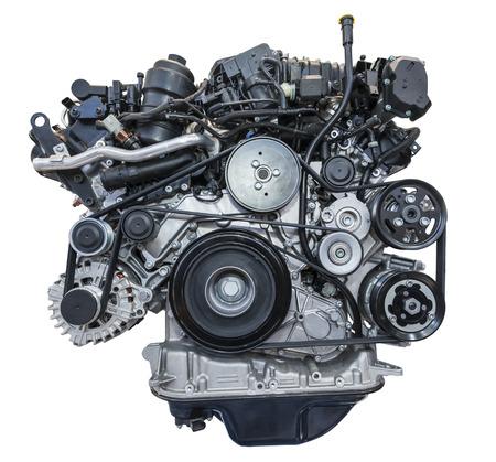 Moderne op zwaar werk berekende die turbodieselmotor op wit wordt geïsoleerd Stockfoto