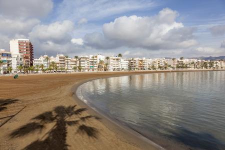 Beautiful beach in town Puerto de Mazarron. Costa Calida, Region Murcia, Spain