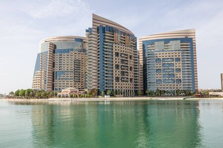 Waterfront building in the city of Abu Dhabi, United Arab Emirates Editorial