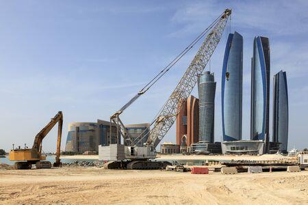 Crane at a construction site in Abu Dhabi, United Arab Emirates