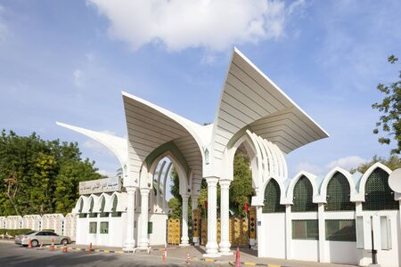 united arab emirate: AL AIN, UAE - NOV 29, 2016: Entrance gate to the Hili Archaeological Park in the city of Al Ain. Emirate of Abu Dhabi, United Arab Emirates