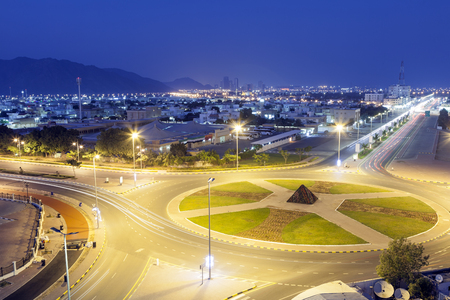 View over the city of Fujairah at night. United Arab Emirates, Middle East