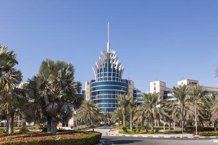 headquarters: DUBAI, UAE - DEC 2, 2016: Dubai Silicon Oasis Headquarters building. Dubai Academic City, United Arab Emirates