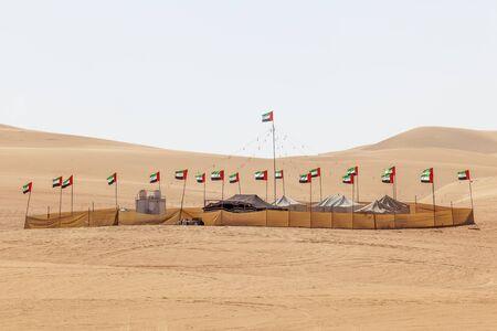 united arab emirate: Desert camp at the Moreeb Dune in Liwa Oasis area. Emirate of Abu Dhabi, United Arab Emirates, Middle East