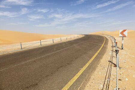 united arab emirate: Desert road to the Moreeb Dune in Liwa Oasis area. Emirate of Abu Dhabi, United Arab Emirates Stock Photo