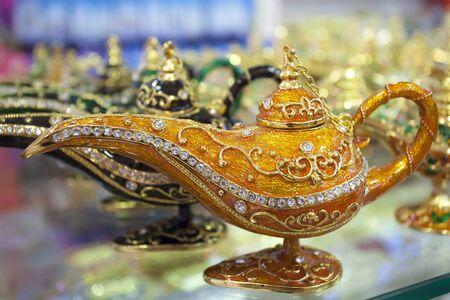 Beautiful oriental genie lamp as a souvenir from Dubai, United Arab Emirates Stock Photo