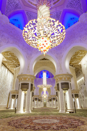 Interior of the Sheikh Zayed Grand Mosque. Abu Dhabi, United Arab Emirates, Middle East