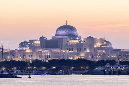 New Presidential Palace illuminated at night. Abu Dhabi, United Arab Emirates